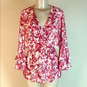 Lysse Floral Blouse Top Red S